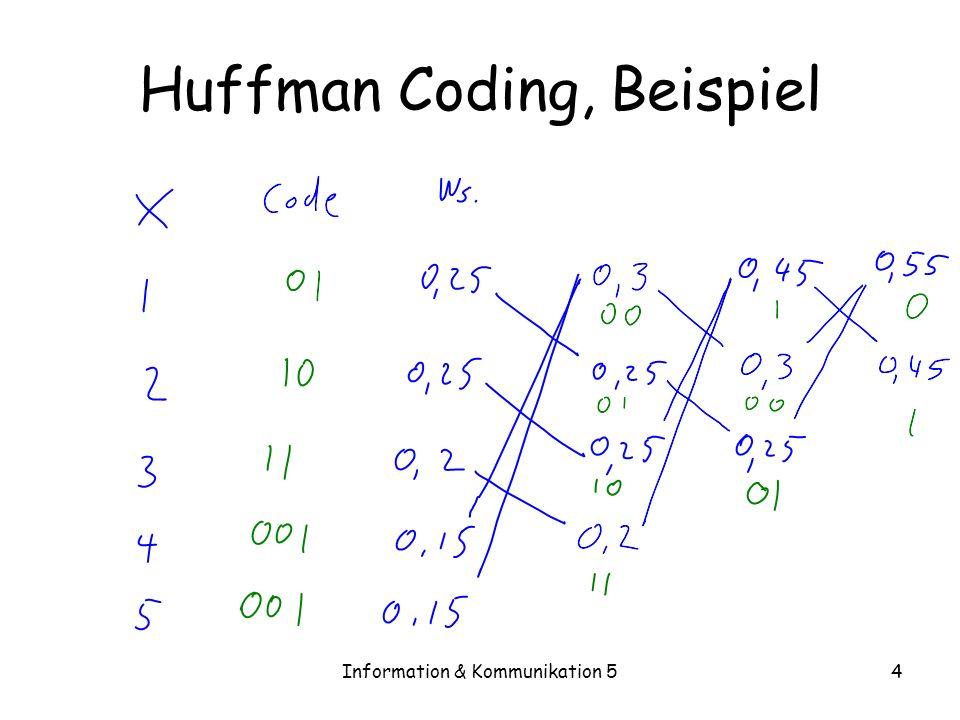 Information & Kommunikation 54 Huffman Coding, Beispiel