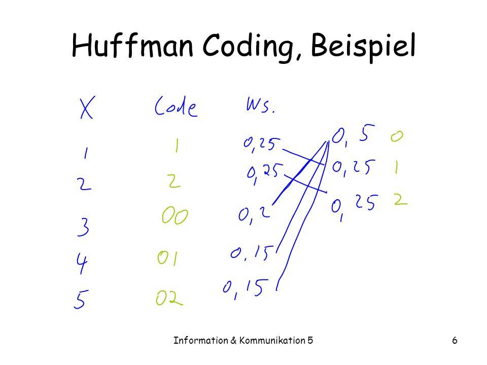 Information & Kommunikation 56 Huffman Coding, Beispiel
