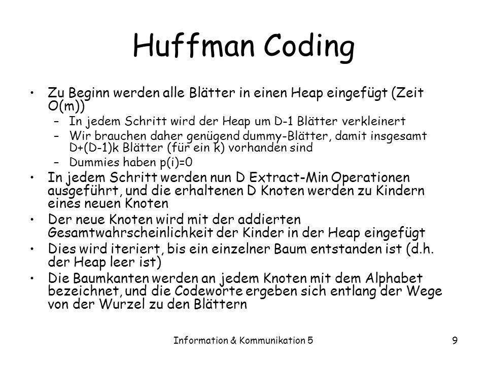 Information & Kommunikation 59 Huffman Coding Zu Beginn werden alle Blätter in einen Heap eingefügt (Zeit O(m)) –In jedem Schritt wird der Heap um D-1