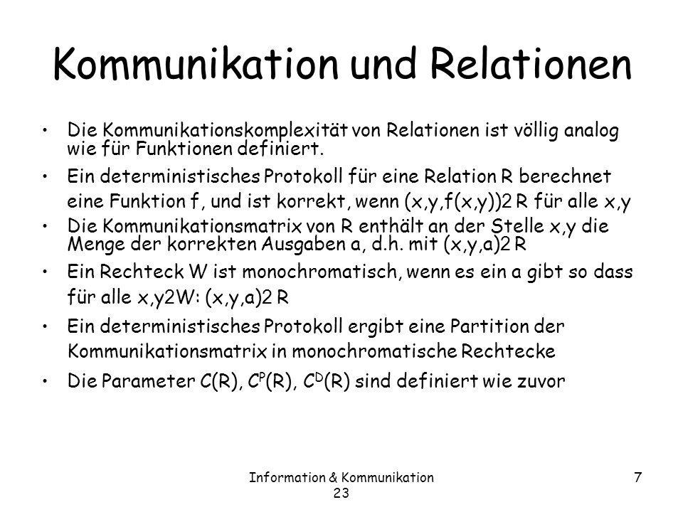 Information & Kommunikation 23 8 Karchmer Wigderson Spiele Tiefe(f) bezeichne die minimale Tiefe eines Schaltkreises, der f berechnet MTiefe(f) bezeichnet die minimale Tiefe eines monotonen Schaltkreises, der f berechnet (für monotone f).