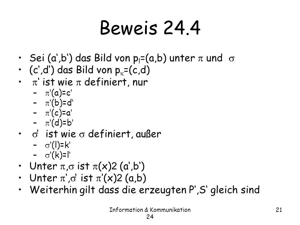 Information & Kommunikation 24 21 Beweis 24.4 Sei (a,b) das Bild von p l =(a,b) unter und (c,d) das Bild von p =(c,d) ist wie definiert, nur – (a)=c – (b)=d – (c)=a – (d)=b ist wie definiert, außer – (l)=k – (k)=l Unter, ist (x) 2 (a,b) Weiterhin gilt dass die erzeugten P,S gleich sind