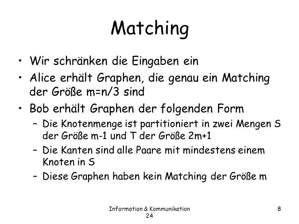 Information & Kommunikation 24 8 Matching Wir schränken die Eingaben ein Alice erhält Graphen, die genau ein Matching der Größe m=n/3 sind Bob erhält Graphen der folgenden Form –Die Knotenmenge ist partitioniert in zwei Mengen S der Größe m-1 und T der Größe 2m+1 –Die Kanten sind alle Paare mit mindestens einem Knoten in S –Diese Graphen haben kein Matching der Größe m