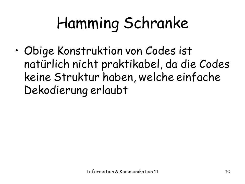 Information & Kommunikation 1110 Hamming Schranke Obige Konstruktion von Codes ist natürlich nicht praktikabel, da die Codes keine Struktur haben, welche einfache Dekodierung erlaubt