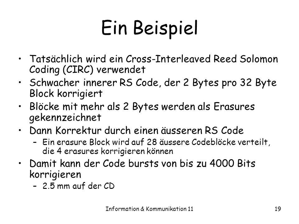 Information & Kommunikation 1119 Ein Beispiel Tatsächlich wird ein Cross-Interleaved Reed Solomon Coding (CIRC) verwendet Schwacher innerer RS Code, der 2 Bytes pro 32 Byte Block korrigiert Blöcke mit mehr als 2 Bytes werden als Erasures gekennzeichnet Dann Korrektur durch einen äusseren RS Code –Ein erasure Block wird auf 28 äussere Codeblöcke verteilt, die 4 erasures korrigieren können Damit kann der Code bursts von bis zu 4000 Bits korrigieren –2.5 mm auf der CD