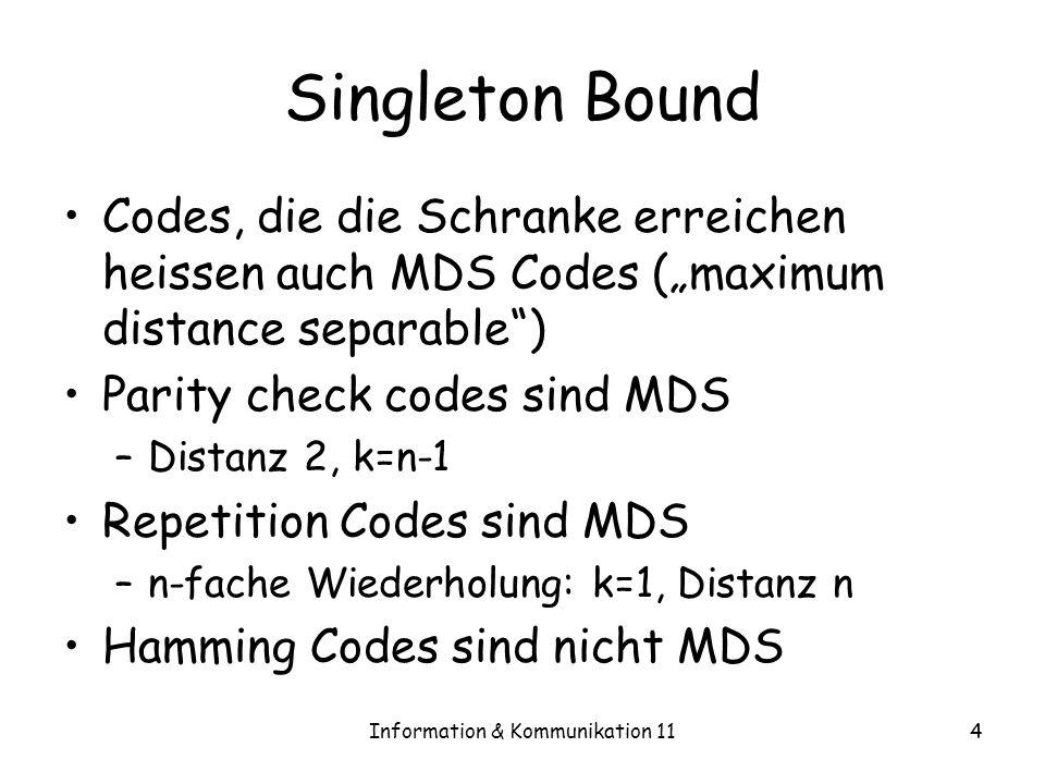 Information & Kommunikation 114 Singleton Bound Codes, die die Schranke erreichen heissen auch MDS Codes (maximum distance separable) Parity check codes sind MDS –Distanz 2, k=n-1 Repetition Codes sind MDS –n-fache Wiederholung: k=1, Distanz n Hamming Codes sind nicht MDS