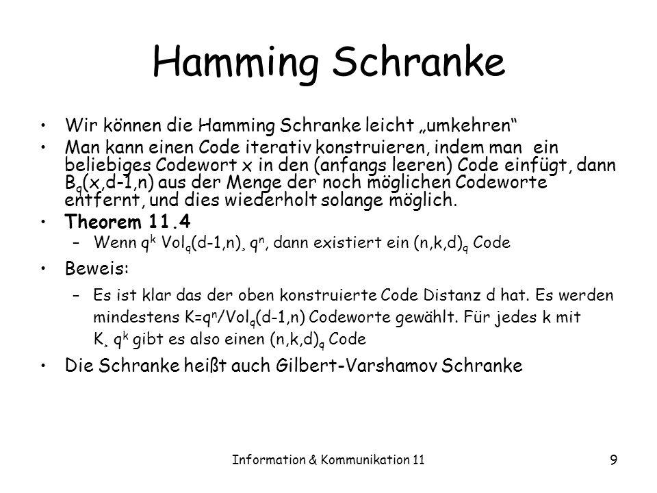 Information & Kommunikation 119 Hamming Schranke Wir können die Hamming Schranke leicht umkehren Man kann einen Code iterativ konstruieren, indem man ein beliebiges Codewort x in den (anfangs leeren) Code einfügt, dann B q (x,d-1,n) aus der Menge der noch möglichen Codeworte entfernt, und dies wiederholt solange möglich.