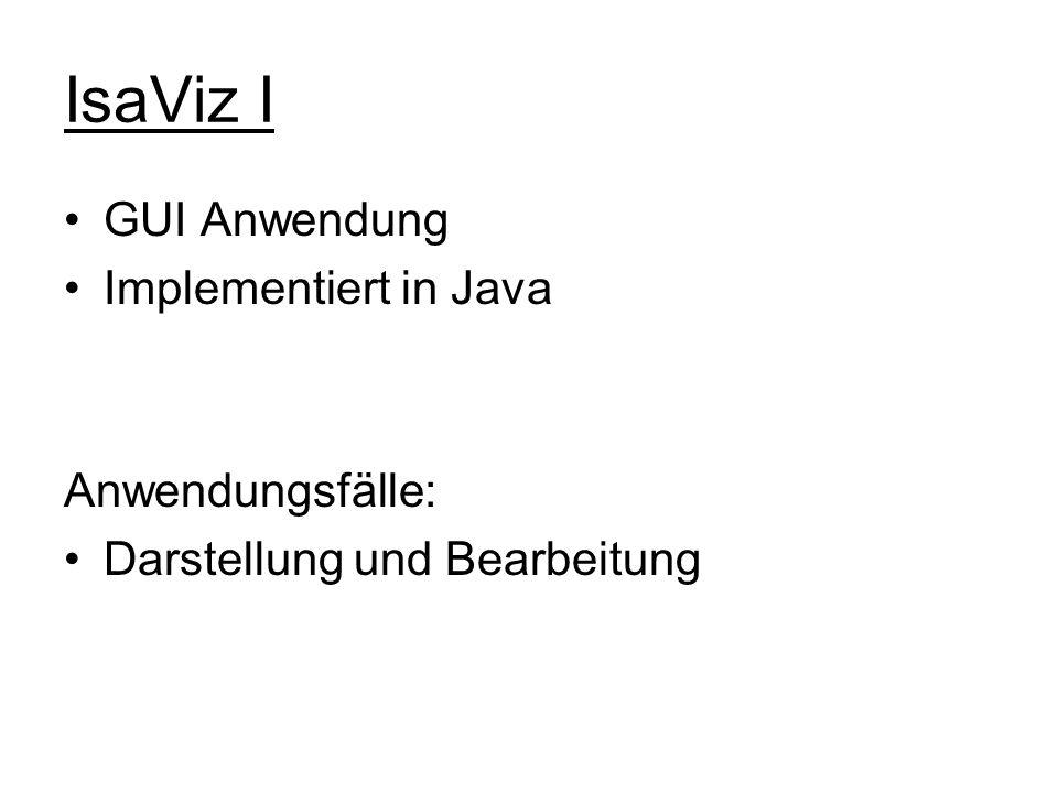IsaViz I GUI Anwendung Implementiert in Java Anwendungsfälle: Darstellung und Bearbeitung