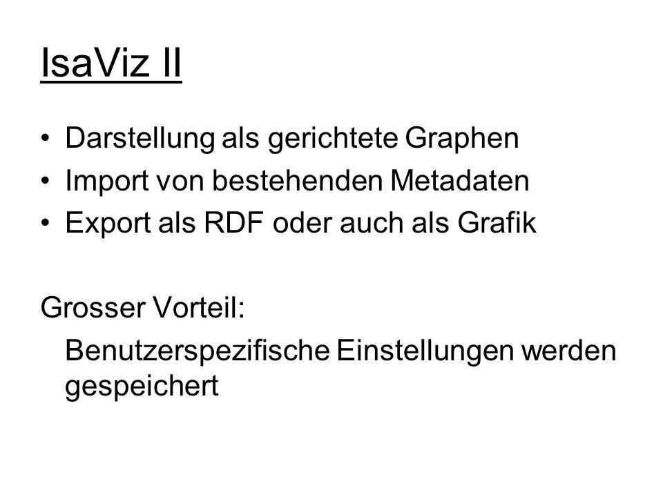 IsaViz II Darstellung als gerichtete Graphen Import von bestehenden Metadaten Export als RDF oder auch als Grafik Grosser Vorteil: Benutzerspezifische