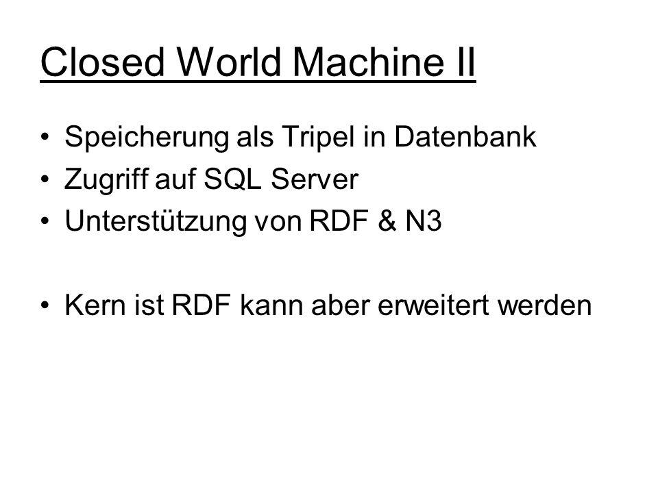 Closed World Machine II Speicherung als Tripel in Datenbank Zugriff auf SQL Server Unterstützung von RDF & N3 Kern ist RDF kann aber erweitert werden