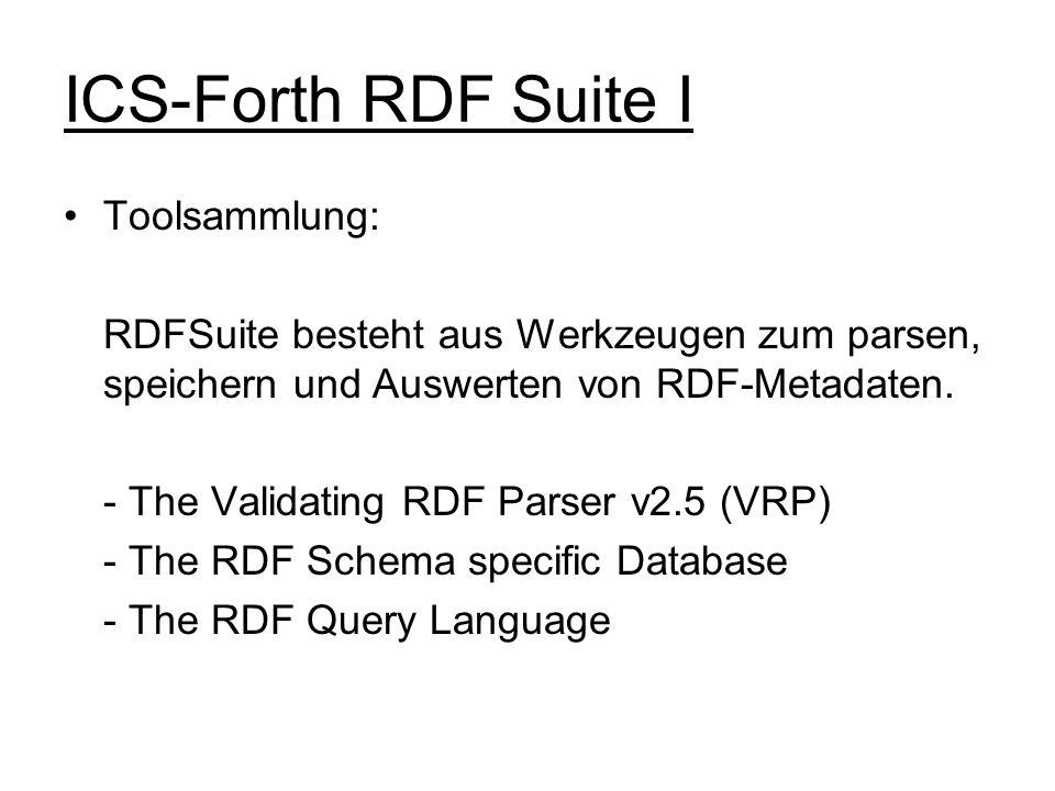 ICS-Forth RDF Suite I Toolsammlung: RDFSuite besteht aus Werkzeugen zum parsen, speichern und Auswerten von RDF-Metadaten. - The Validating RDF Parser