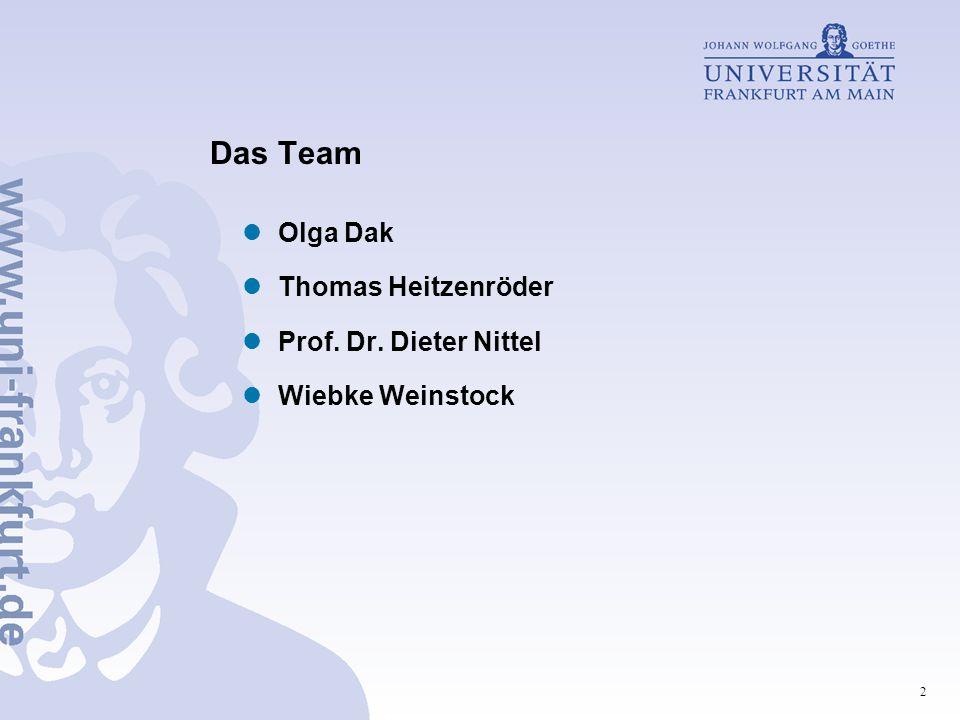 2 Das Team Olga Dak Thomas Heitzenröder Prof. Dr. Dieter Nittel Wiebke Weinstock