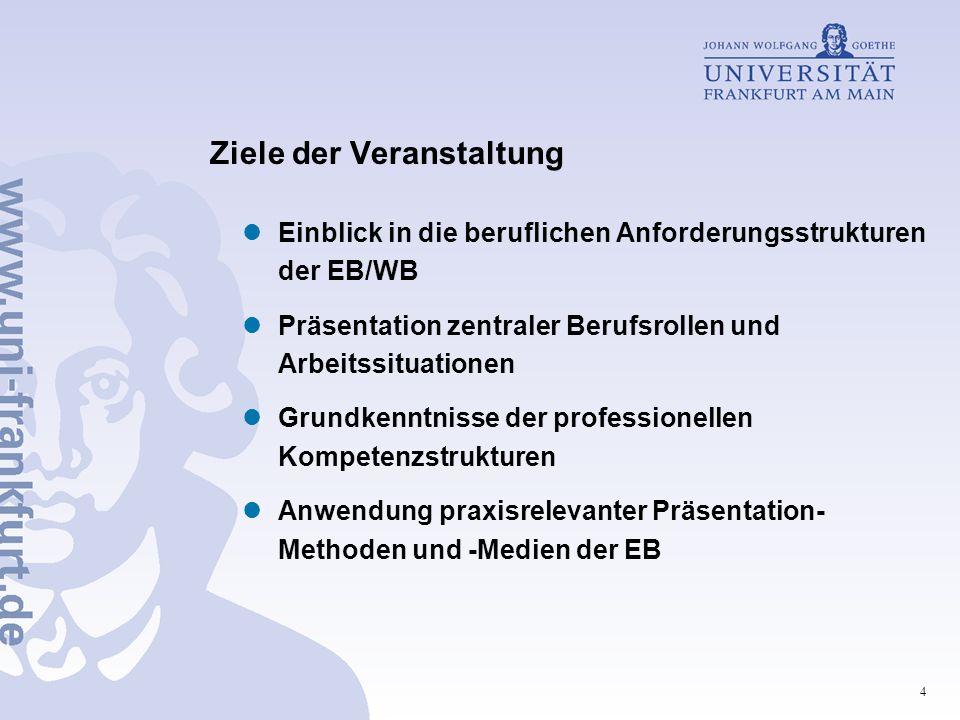 4 Ziele der Veranstaltung Einblick in die beruflichen Anforderungsstrukturen der EB/WB Präsentation zentraler Berufsrollen und Arbeitssituationen Grun