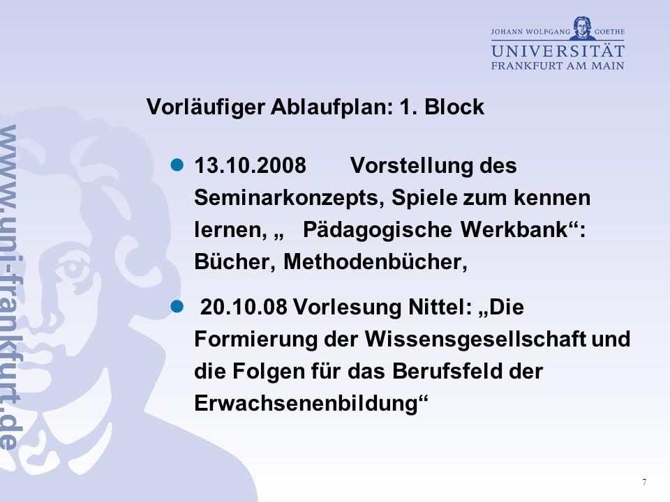 7 Vorläufiger Ablaufplan: 1. Block 13.10.2008 Vorstellung des Seminarkonzepts, Spiele zum kennen lernen, Pädagogische Werkbank: Bücher, Methodenbücher