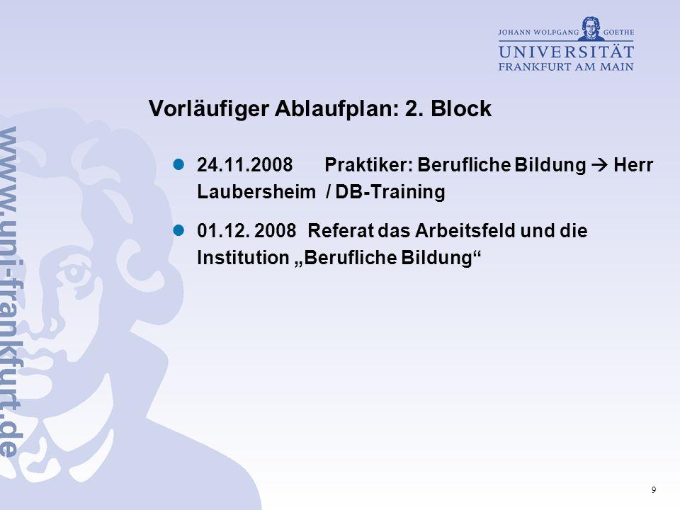 9 Vorläufiger Ablaufplan: 2. Block 24.11.2008 Praktiker: Berufliche Bildung Herr Laubersheim / DB-Training 01.12. 2008 Referat das Arbeitsfeld und die