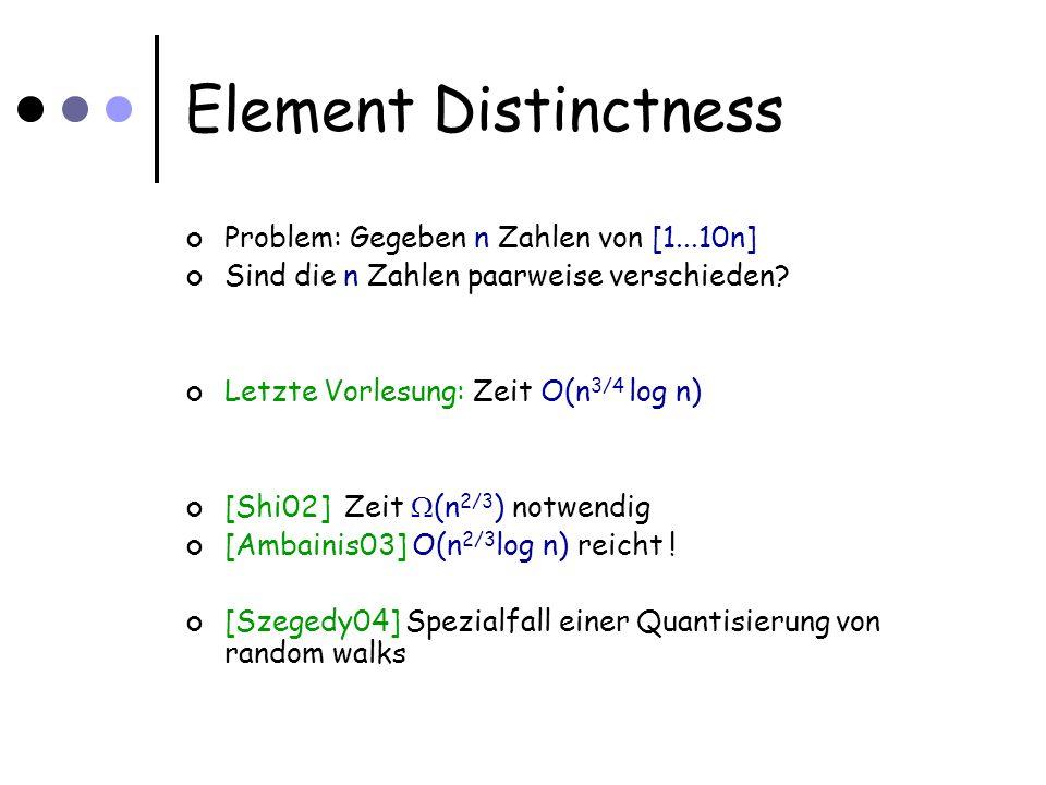 Quantum Walks Quantum Hitting time: Anzahl Schritte, bis h  W t   i < 3/4 Theorem: Hitting time ist O( 1 / (1-  P M   ) 1/2 )