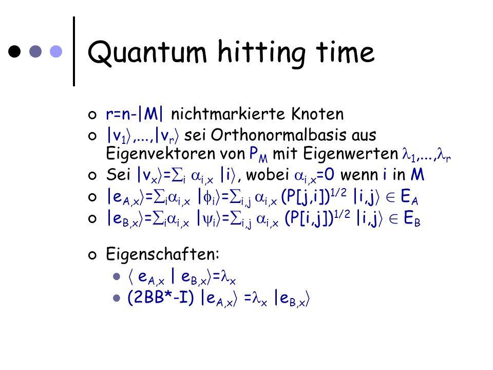 Quantum hitting time r=n-|M| nichtmarkierte Knoten |v 1 i,...,|v r i sei Orthonormalbasis aus Eigenvektoren von P M mit Eigenwerten 1,..., r Sei |v x i = i i,x |i i, wobei i,x =0 wenn i in M |e A,x i = i i,x | i i = i,j i,x (P[j,i]) 1/2 |i,j i 2 E A |e B,x i = i i,x | i i = i,j i,x (P[i,j]) 1/2 |i,j i 2 E B Eigenschaften: h e A,x | e B,x i = x (2BB*-I) |e A,x i = x |e B,x i