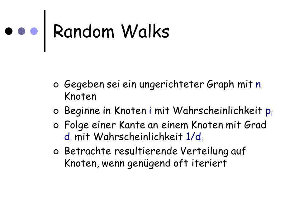 Quantum Walks Hier: Betrachten Walks auf bipartiten Graphen (verdoppele Knotenmenge, Übergänge auf Kopie der Nachbarn in der jeweils anderen Menge) P: Matriz des ursprünglichen walks Basis: Zustände  i i  j i i sei Knoten auf linker Seite, j auf rechter Seite Zustände   i i = j (P[j,i]) 1/2  i i  j i   j i = i (P[i,j]) 1/2  i i  j i Möchten: Operator:  i i  r i wird für alle  r i auf   i i abgebildet, analog für j, aber unmöglich!