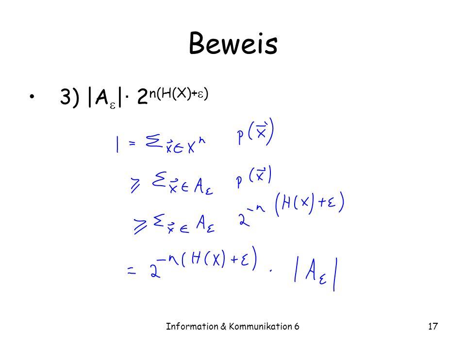 Information & Kommunikation 617 Beweis 3) |A | · 2 n(H(X)+ )