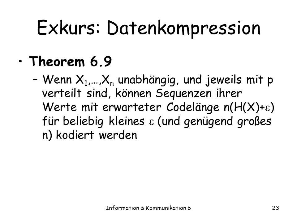 Information & Kommunikation 623 Exkurs: Datenkompression Theorem 6.9 –Wenn X 1,…,X n unabhängig, und jeweils mit p verteilt sind, können Sequenzen ihrer Werte mit erwarteter Codelänge n(H(X)+ ) für beliebig kleines (und genügend großes n) kodiert werden