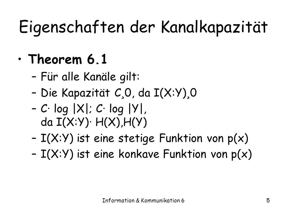 Information & Kommunikation 65 Eigenschaften der Kanalkapazität Theorem 6.1 –Für alle Kanäle gilt: –Die Kapazität C ¸ 0, da I(X:Y) ¸ 0 –C · log |X|; C · log |Y|, da I(X:Y) · H(X),H(Y) –I(X:Y) ist eine stetige Funktion von p(x) –I(X:Y) ist eine konkave Funktion von p(x)