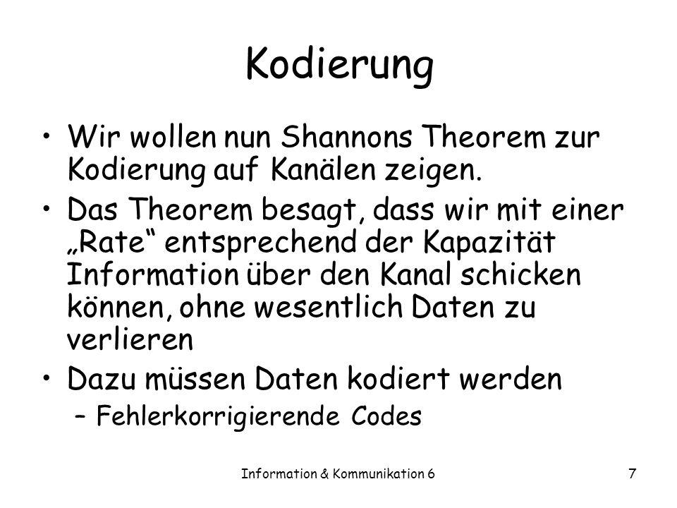 Information & Kommunikation 67 Kodierung Wir wollen nun Shannons Theorem zur Kodierung auf Kanälen zeigen.