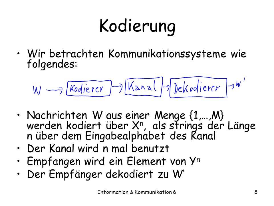 Information & Kommunikation 68 Kodierung Wir betrachten Kommunikationssysteme wie folgendes: Nachrichten W aus einer Menge {1,…,M} werden kodiert über X n, als strings der Länge n über dem Eingabealphabet des Kanal Der Kanal wird n mal benutzt Empfangen wird ein Element von Y n Der Empfänger dekodiert zu W