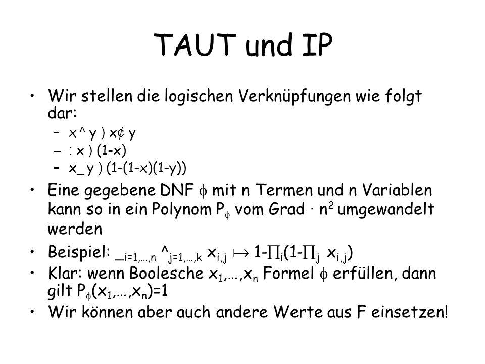 TAUT und IP Wir stellen die logischen Verknüpfungen wie folgt dar: –x ^ y ) x ¢ y –: x ) (1-x) –x _ y ) (1-(1-x)(1-y)) Eine gegebene DNF mit n Termen
