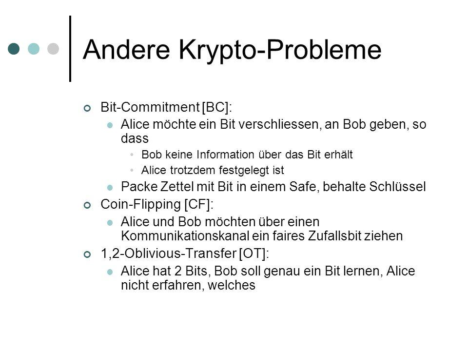 Andere Krypto-Probleme Bit-Commitment [BC]: Alice möchte ein Bit verschliessen, an Bob geben, so dass Bob keine Information über das Bit erhält Alice trotzdem festgelegt ist Packe Zettel mit Bit in einem Safe, behalte Schlüssel Coin-Flipping [CF]: Alice und Bob möchten über einen Kommunikationskanal ein faires Zufallsbit ziehen 1,2-Oblivious-Transfer [OT]: Alice hat 2 Bits, Bob soll genau ein Bit lernen, Alice nicht erfahren, welches