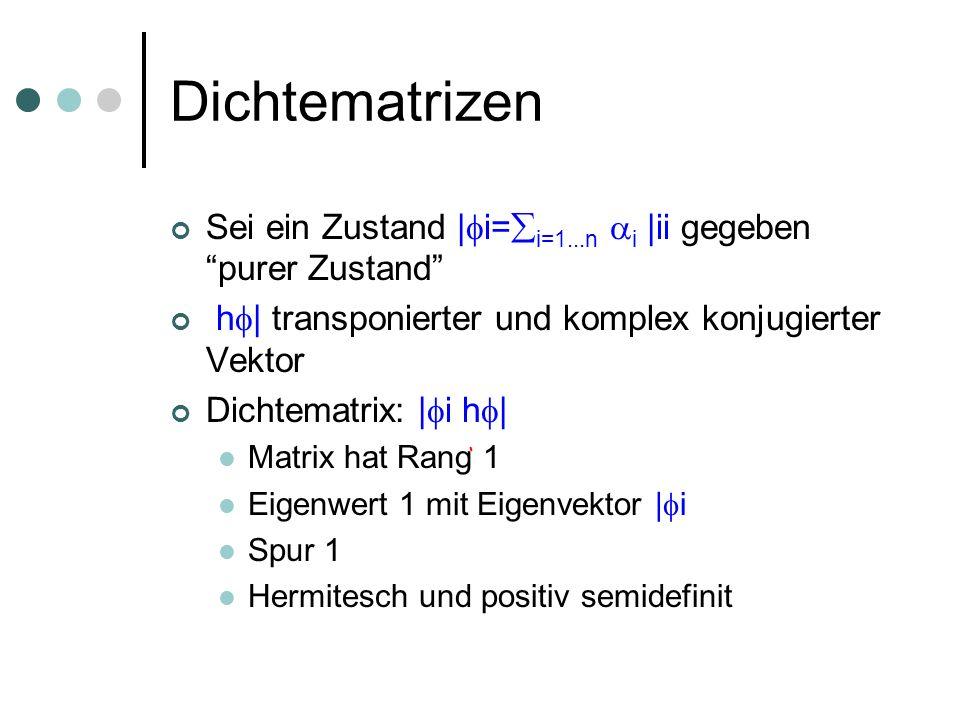 Dichtematrizen Sei ein Zustand | i= i=1...n i |ii gegeben purer Zustand h | transponierter und komplex konjugierter Vektor Dichtematrix: | i h | Matrix hat Rang 1 Eigenwert 1 mit Eigenvektor | i Spur 1 Hermitesch und positiv semidefinit