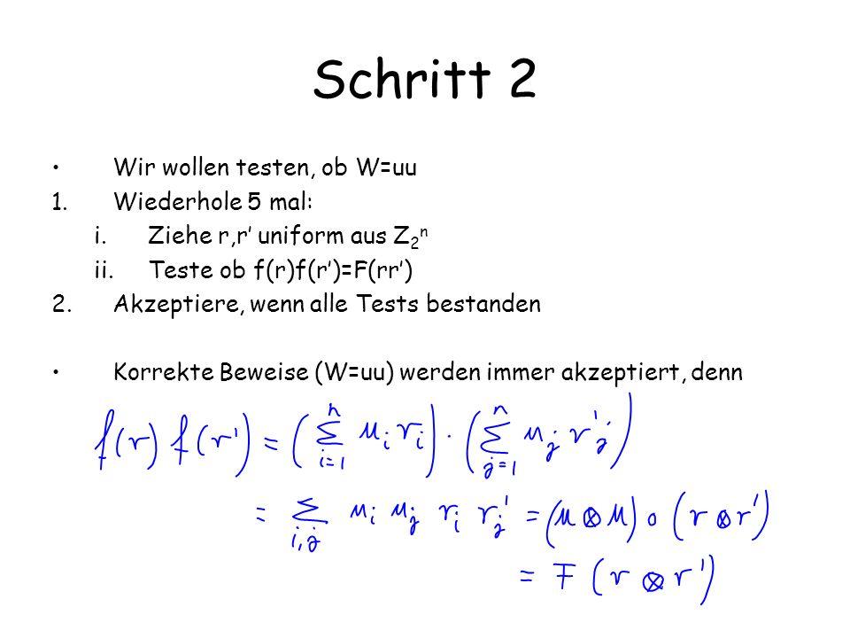 Schritt 2 Wir wollen testen, ob W=u  u 1.Wiederhole 5 mal: i.Ziehe r,r uniform aus Z 2 n ii.Teste ob f(r)f(r)=F(r  r) 2.Akzeptiere, wenn alle Tests