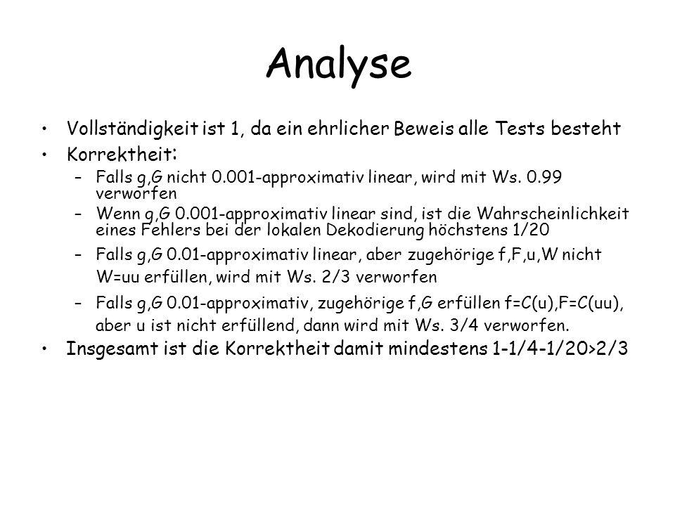 Analyse Vollständigkeit ist 1, da ein ehrlicher Beweis alle Tests besteht Korrektheit : –Falls g,G nicht 0.001-approximativ linear, wird mit Ws. 0.99