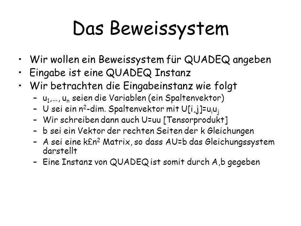 Das Beweissystem Wir wollen ein Beweissystem für QUADEQ angeben Eingabe ist eine QUADEQ Instanz Wir betrachten die Eingabeinstanz wie folgt –u 1,…, u