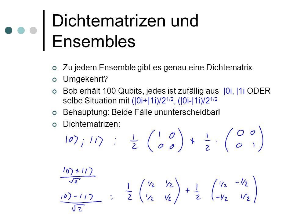 Dichtematrizen und Ensembles Zu jedem Ensemble gibt es genau eine Dichtematrix Umgekehrt? Bob erhält 100 Qubits, jedes ist zufällig aus |0i, |1i ODER
