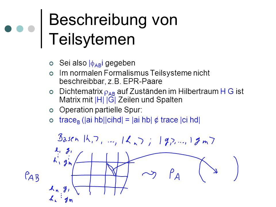 Beschreibung von Teilsytemen Sei also | AB i gegeben Im normalen Formalismus Teilsysteme nicht beschreibbar, z.B. EPR-Paare Dichtematrix AB auf Zustän
