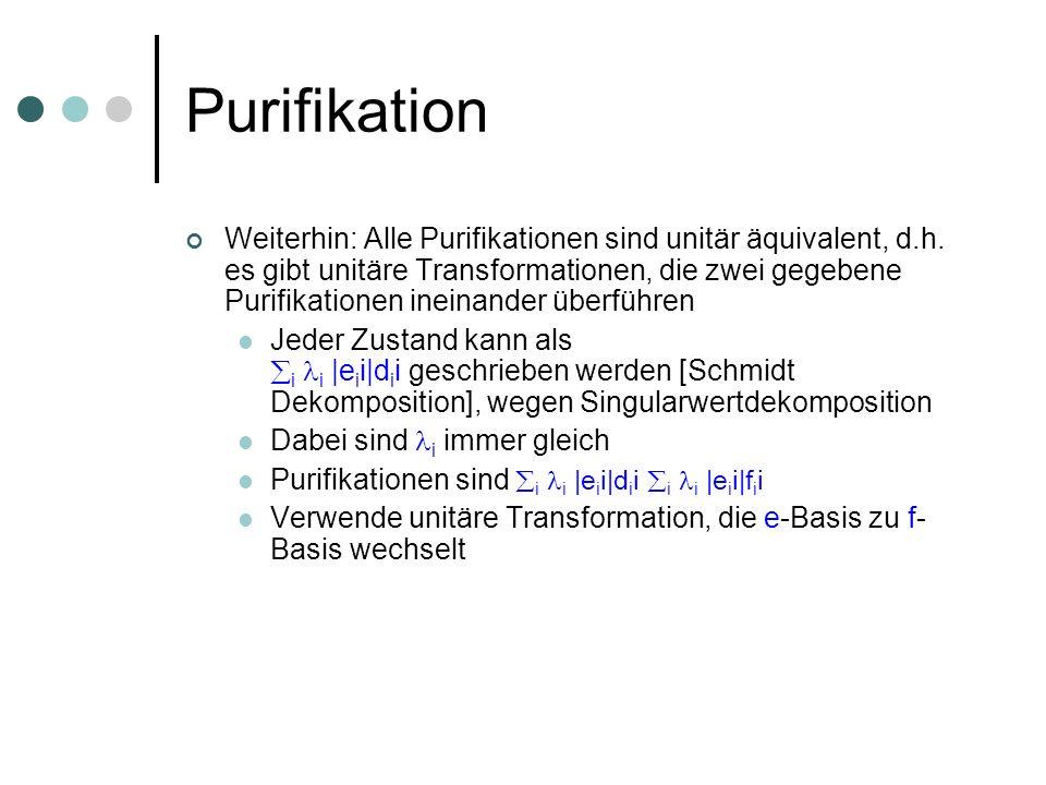 Purifikation Weiterhin: Alle Purifikationen sind unitär äquivalent, d.h. es gibt unitäre Transformationen, die zwei gegebene Purifikationen ineinander