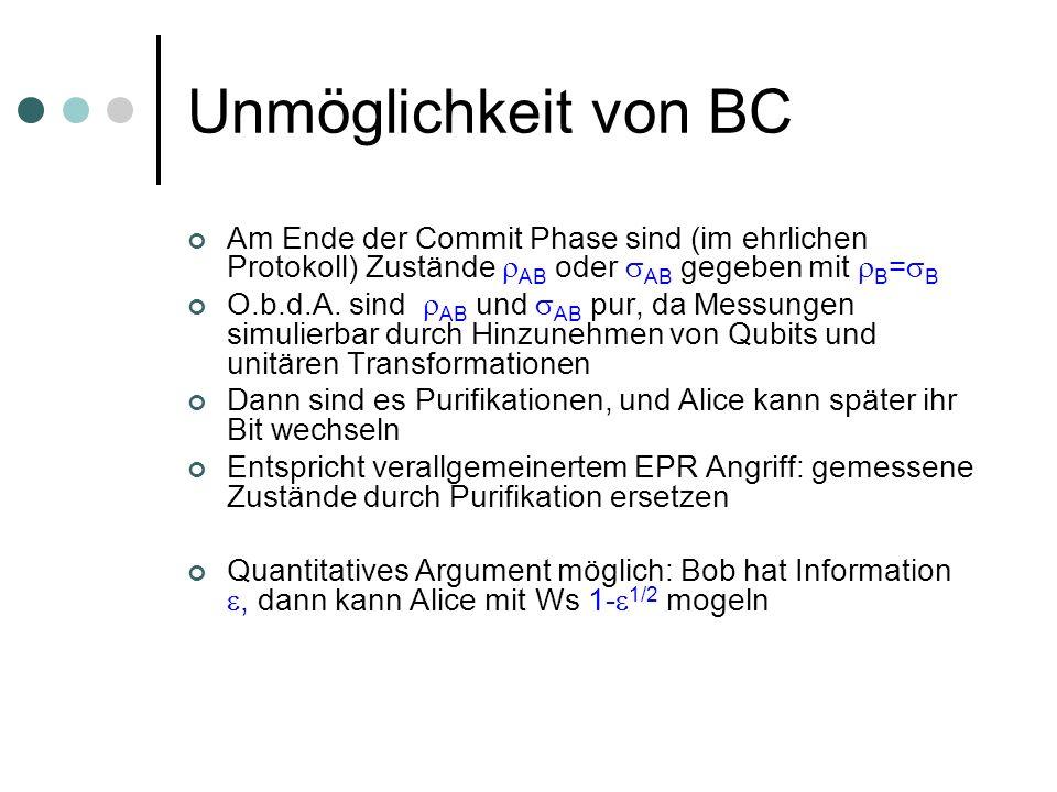 Unmöglichkeit von BC Am Ende der Commit Phase sind (im ehrlichen Protokoll) Zustände AB oder AB gegeben mit B = B O.b.d.A. sind AB und AB pur, da Mess