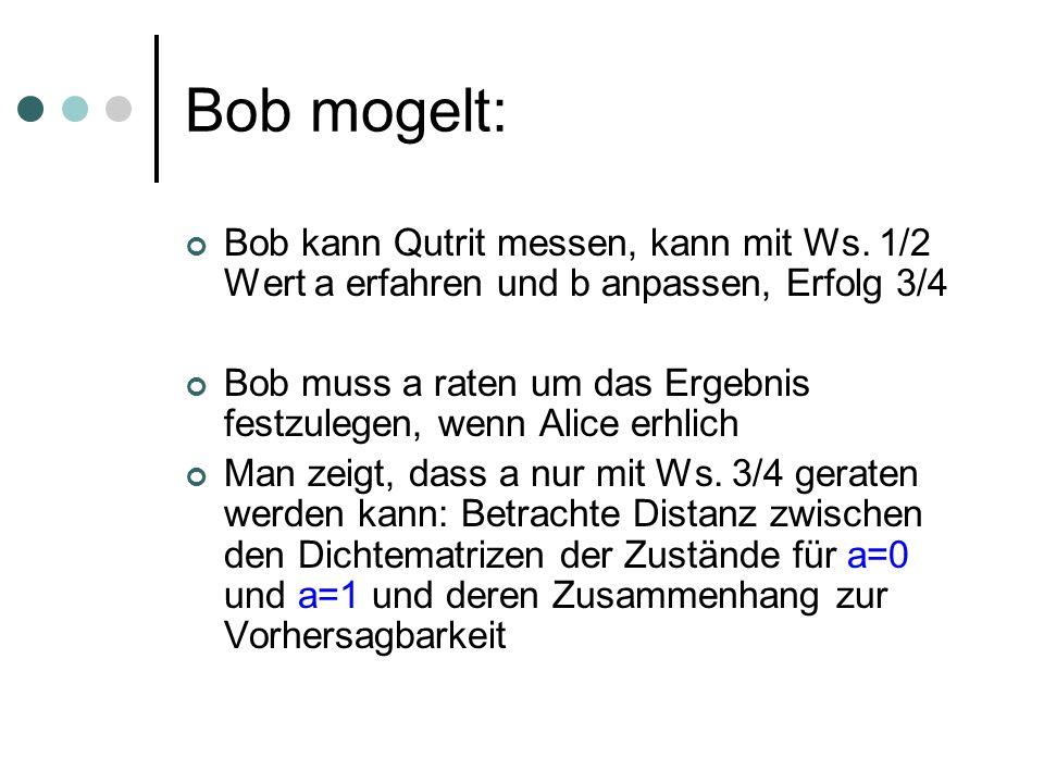 Bob mogelt: Bob kann Qutrit messen, kann mit Ws. 1/2 Wert a erfahren und b anpassen, Erfolg 3/4 Bob muss a raten um das Ergebnis festzulegen, wenn Ali