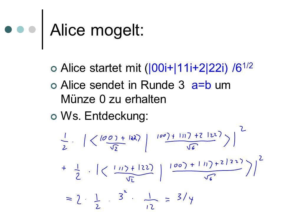 Alice mogelt: Alice startet mit (|00i+|11i+2|22i) /6 1/2 Alice sendet in Runde 3 a=b um Münze 0 zu erhalten Ws. Entdeckung: