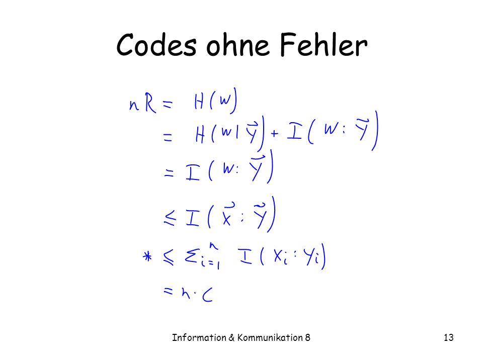 Information & Kommunikation 813 Codes ohne Fehler
