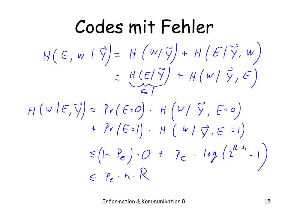 Information & Kommunikation 815 Codes mit Fehler