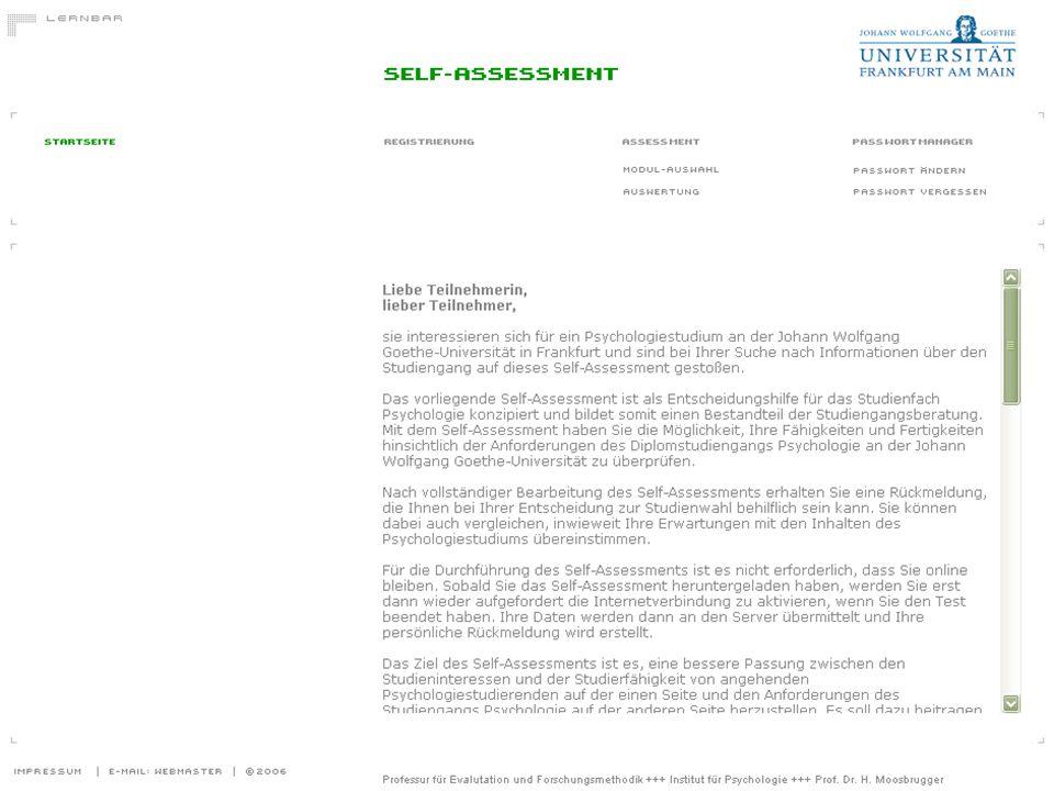eLearning Netzwerktag 2008: Webbasierter Self-Assessments an der Universität Frankfurt 11 Startseite des Self-Assessments Psychologie