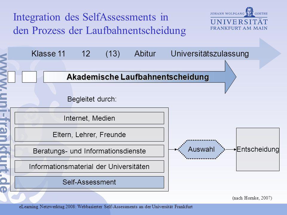 eLearning Netzwerktag 2008: Webbasierter Self-Assessments an der Universität Frankfurt Integration des SelfAssessments in den Prozess der Laufbahnents