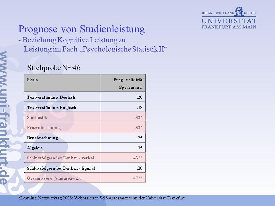 eLearning Netzwerktag 2008: Webbasierter Self-Assessments an der Universität Frankfurt Prognose von Studienleistung - Beziehung Kognitive Leistung zu