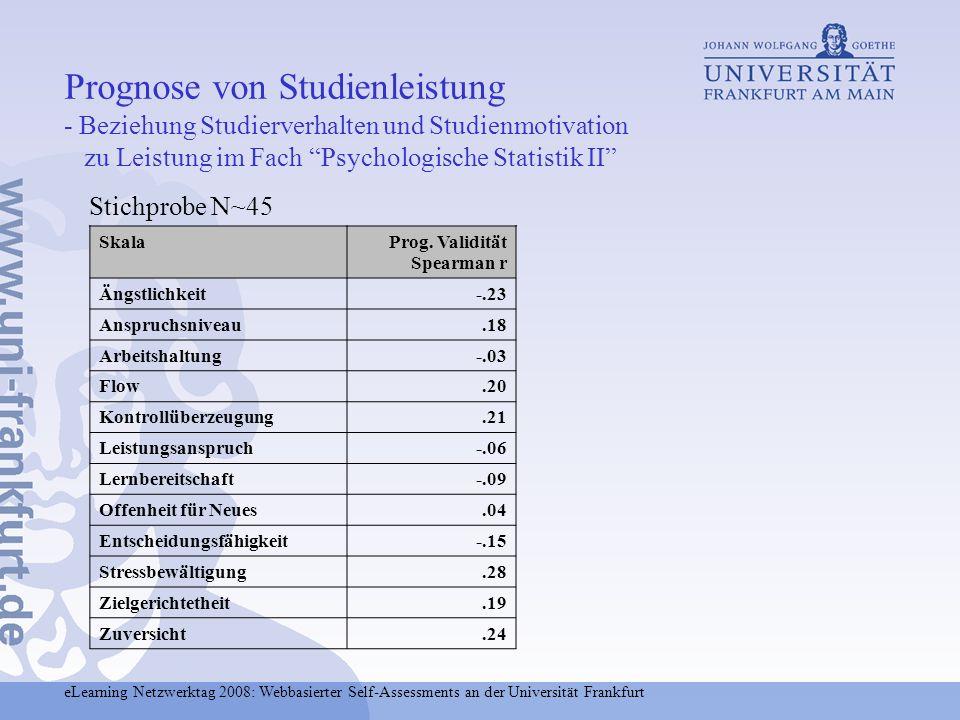 eLearning Netzwerktag 2008: Webbasierter Self-Assessments an der Universität Frankfurt Stichprobe N~45 Prognose von Studienleistung - Beziehung Studie