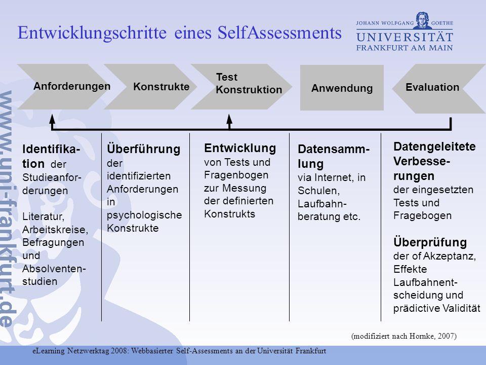 eLearning Netzwerktag 2008: Webbasierter Self-Assessments an der Universität Frankfurt Entwicklungschritte eines SelfAssessments Identifika- tion der