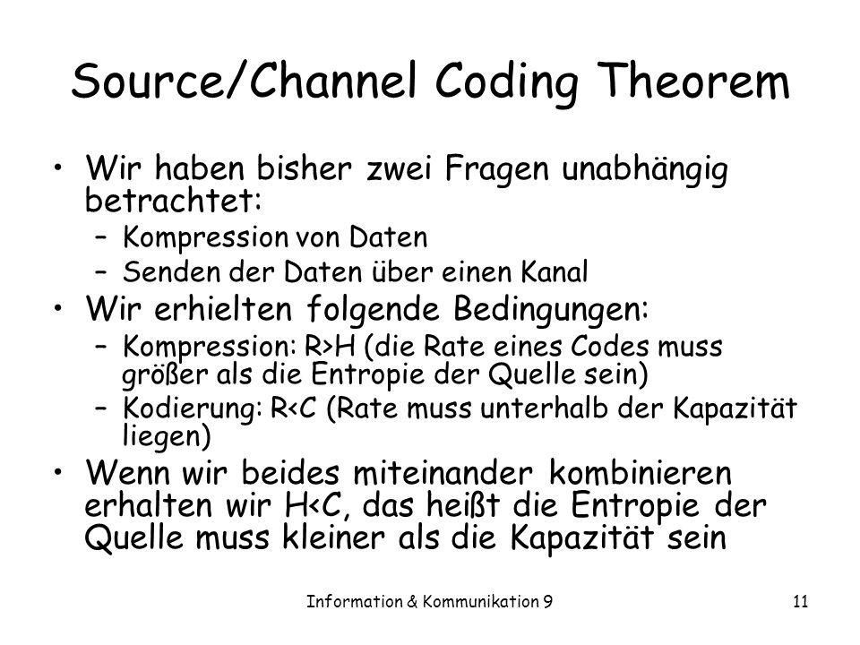 Information & Kommunikation 911 Source/Channel Coding Theorem Wir haben bisher zwei Fragen unabhängig betrachtet: –Kompression von Daten –Senden der D