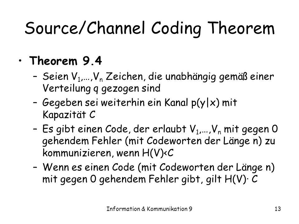 Information & Kommunikation 913 Source/Channel Coding Theorem Theorem 9.4 –Seien V 1,…,V n Zeichen, die unabhängig gemäß einer Verteilung q gezogen si