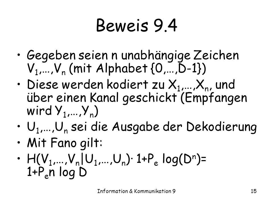 Information & Kommunikation 915 Beweis 9.4 Gegeben seien n unabhängige Zeichen V 1,…,V n (mit Alphabet {0,…,D-1}) Diese werden kodiert zu X 1,…,X n, u