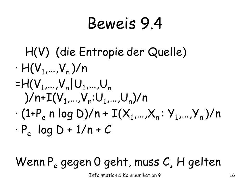 Information & Kommunikation 916 Beweis 9.4 H(V) (die Entropie der Quelle) · H(V 1,…,V n )/n =H(V 1,…,V n |U 1,…,U n )/n+I(V 1,…,V n :U 1,…,U n )/n · (