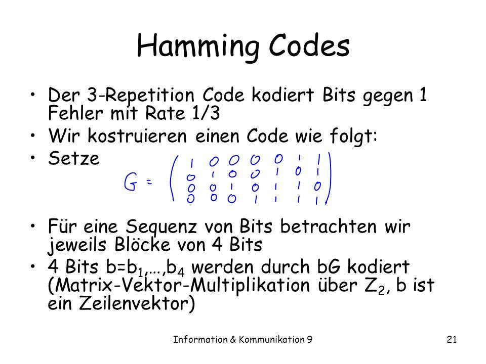 Information & Kommunikation 921 Hamming Codes Der 3-Repetition Code kodiert Bits gegen 1 Fehler mit Rate 1/3 Wir kostruieren einen Code wie folgt: Set